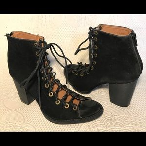 YOKI Lace Up Faux Suede Open Toe Booties
